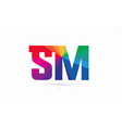 rainbow colored alphabet combination letter sm s vector image vector image
