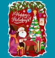 santa claus and christmas tree winter holidays vector image