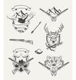 set hunt emblems badges labels and designed vector image