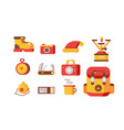 set necessary things for tourism and travel vector image vector image
