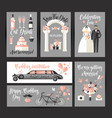 set of cards for wedding design decoration in vector image