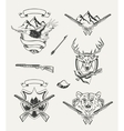 Set of hunt emblems badges labels and designed vector image vector image