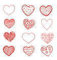 set of red hand drawn hearts on white background vector image vector image