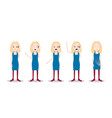 set teen blonde girl character different poses and vector image