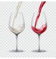 Set transparent glasses with white and red wine vector image vector image