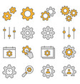 settings flat line icon set vector image vector image