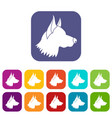 shepherd dog icons set vector image vector image