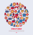 stand up comedy show concept in circle vector image vector image