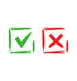 tick and cross check marks good and bad choice vector image