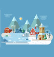 village at winter with house and barn church vector image vector image