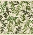 vintage green leaves seamless pattern vector image vector image