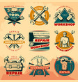 vintage repair workshop color logo set vector image vector image