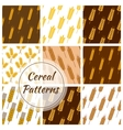 Wheat cereal grain rye ears seamless patterns set vector image vector image