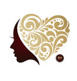 woman s silhouette hair beautiful icon face in vector image
