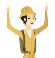 young asian traveler standing with raised arms up vector image vector image