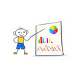young doodle boy standing near flip chart and vector image vector image