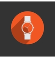 Trendy wristwatch icon with long shadow vector image