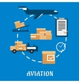 Air cargo and logistics flat design vector image vector image