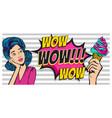 blue hair woman pop art dream about summer vector image vector image