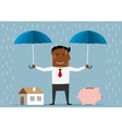Businessman protecting house and piggy bank vector image vector image
