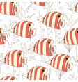 butterflyfish swimming on reef seamless pattern vector image vector image