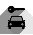 car key simplistic sign black icon with vector image vector image