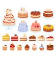 cartoon cakes set vector image vector image