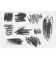charcoal pencil scribble set vector image vector image
