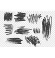 charcoal pencil scribble set vector image