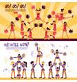 Cheerleaders team 2 flat banners vector image