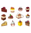 colored sketches cupcakes berry pie and vector image vector image