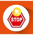 construction stop warning icon graphic vector image