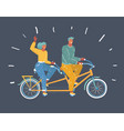 couple riding on tandem bicycle vector image vector image