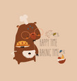 cute cartoon funny bear with homemade cake vector image
