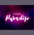 dark blue and violet neon tropical design vector image vector image