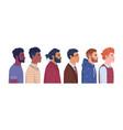 diverse men profile portrait multiracial people vector image