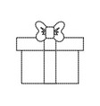 dotted shape box of present gift with ribbon vector image