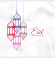 eid mubarak hanging lamps greeting vector image vector image