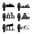 explorer adventure at snow mountain city ancient vector image