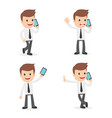funny cartoon businessman on the phone vector image