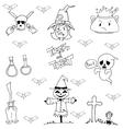 Hand draw element Halloween in doodle vector image vector image