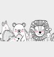 happy wild animals friends together vector image vector image