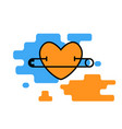 heart icon pierced a pin vector image vector image