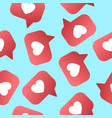 heart shapet likes seamless pattern followers vector image vector image