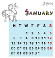 horse calendar 2014 january vector image vector image