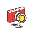 Isometric photo camera line icon vector image