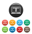 laptop video chat icons set color vector image vector image