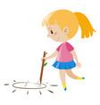 little girl doodle on floor vector image vector image