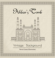 main gate to the akbars tomb vintage background vector image