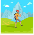 man travelling in mountains vector image